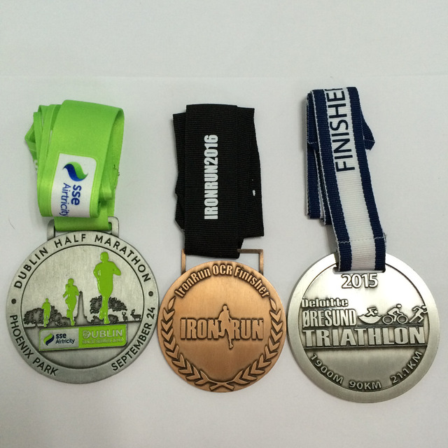 customized triathlon / soccer sport medal engraved / embossed zinc die cast  medals with cotton ribbon--50 8mm diameter-100pcs