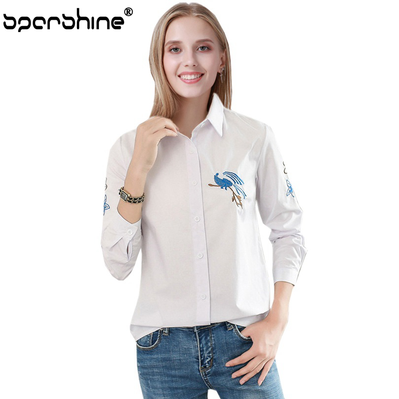 SPARSHINE Birdie Embroidered Blouse Cotton Long Sleeve Female Shirt Women Tops 2017 Casual Bird Pattern Chemise