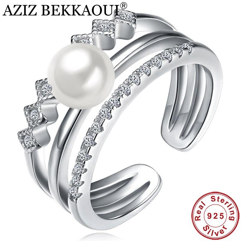 Classic Ring Engagement Wedding-Jewelry 925-Sterling-Silver White AZIZ BEKKAOUI Open-Cuff