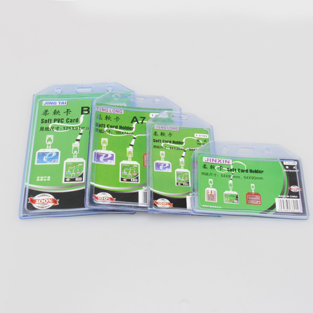 lot vertical plastic id card badge holder 105x6cm clear exhibition id name card holders office - Plastic Id Card Holder