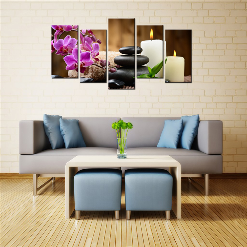 Zen art phalaenopsis canvas black stone candle hd picture wall mural still life painting modern home