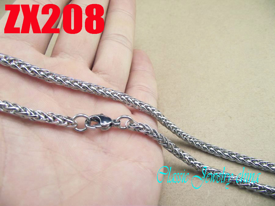 4mm flower basket dense chain stainless steel necklace men boy fashion necklace punk chains 20pcs ZX208