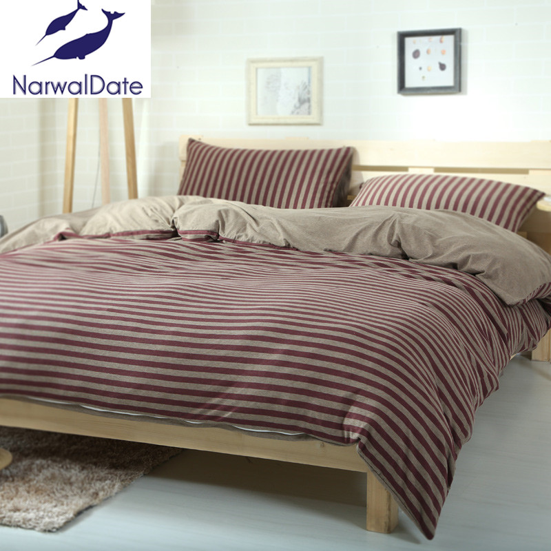 Nice 4PCS Bed Linen Bed Set Naked Knitted Cotton Striped Twin/Full/Queen/King  4Pcs Bed Sheet Bed Fitted Bedding Duvet Cover In Bedding Sets From Home U0026  Garden On ...