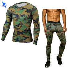Mens Compression Running jogging Suits Set Sports Clothes Long Sleeve T ShirtS + Pants Gym Fitness Workout Skin Tights Clothing