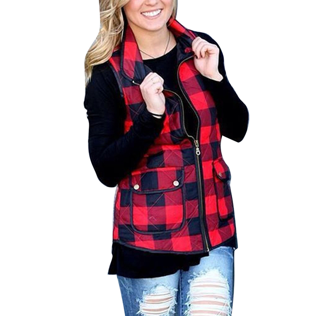 Otoño Invierno mujer ropa Sexy cremallera de la impresión de la tela escocesa femenina chaleco sin mangas algodón abrigos chaquetas bolsillos Outwear