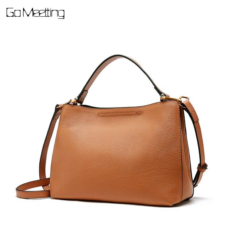 Go Meetting Fashion Soft Real Genuine Leather Women Handbag Elegant Ladies Shoulder Bag Messenger bags Purse Satchel Sac a Main цена