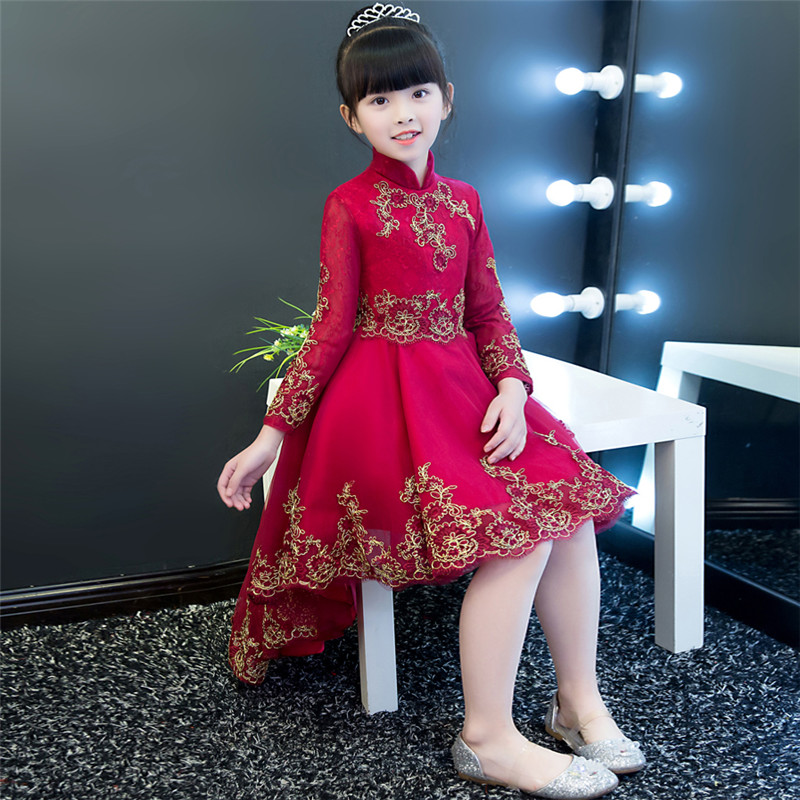 High Quality Elegant Children Girls Wine-Red Embroidery Lace Wedding Birthday Party Dress Kid Babies Front Long Back Short DressHigh Quality Elegant Children Girls Wine-Red Embroidery Lace Wedding Birthday Party Dress Kid Babies Front Long Back Short Dress