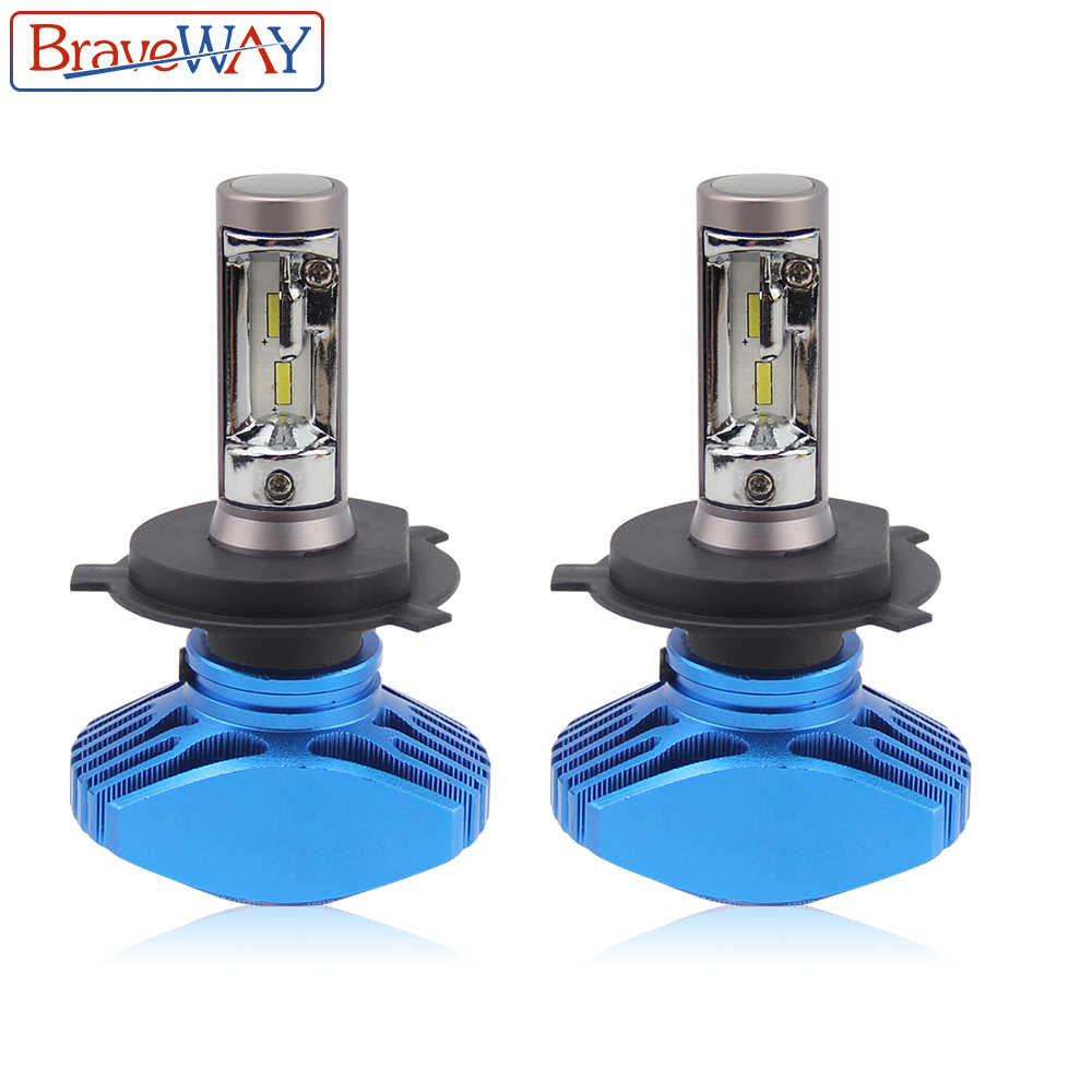 BraveWay 2PCS Super Brgiht CSP Chip H7 LED H4 Car Light H8 H11 Led Bulb HB3 HB4 9005 9006 Headlights for Automobiles Cars 12V