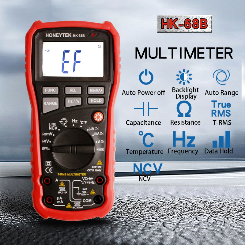 Handheld Digital Multimeter AC / DC Current Voltage Resistance Capacitance Frequency Temperature Multi Tester HK68B