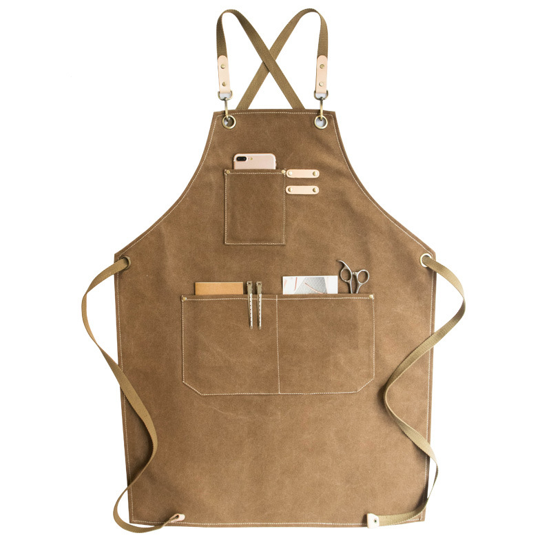 High Quality Fashion Denim Canvas Wear Apron / Painting / Hairdressing / Barista Restaurant Apron Anti-dirty Overalls