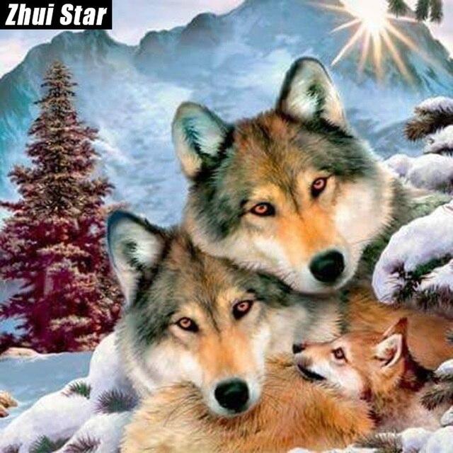 """Volledige vierkante diamant 5d diy diamant schilderen """"gelukkig wolf"""" borduren kruissteek strass mozaïek schilderij interieur"""