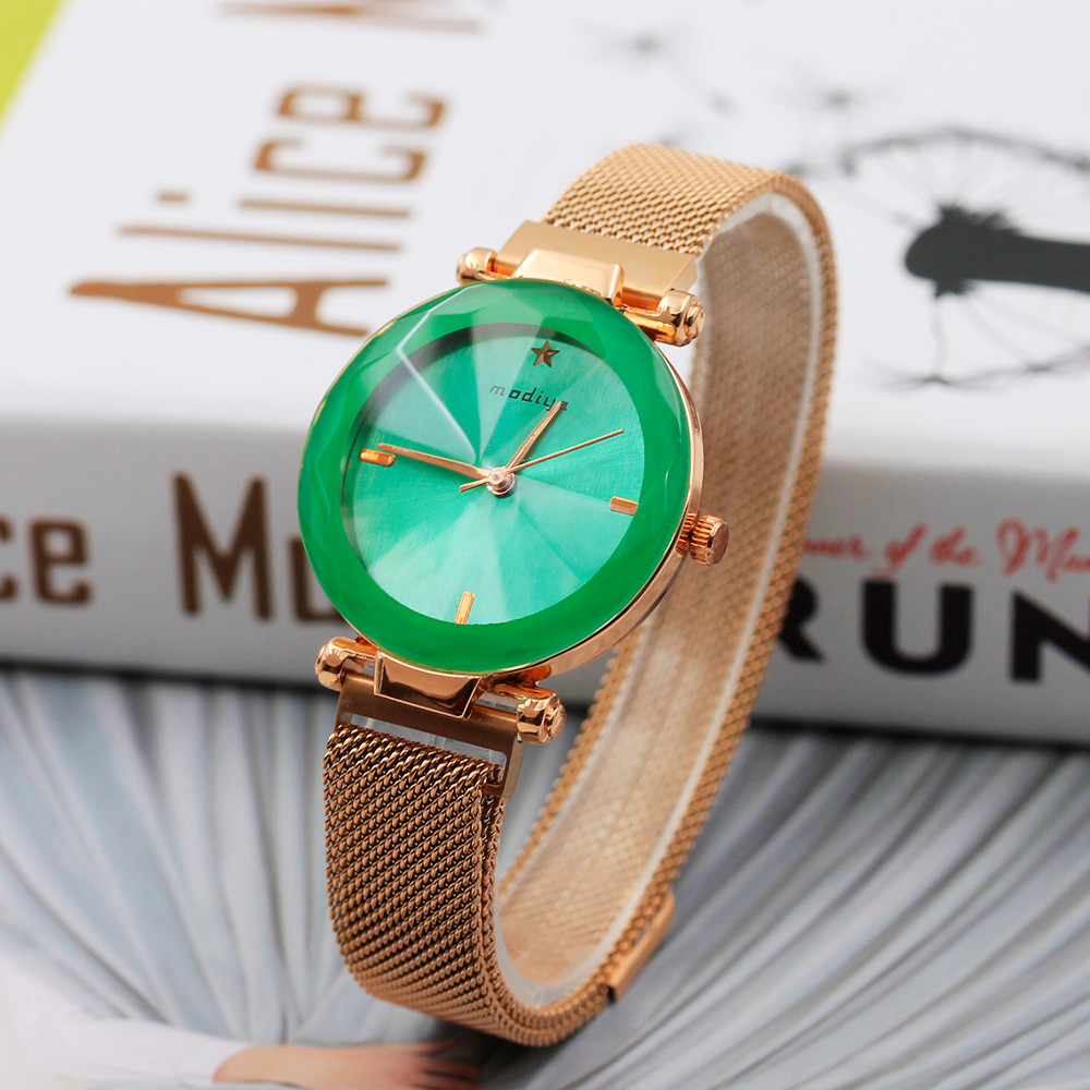 Fashion Color Watch Women Digital Dial Steel Mesh Magnet Strap Quartz Analog Wrist Watches zegarek damski relogio feminino NEW 2