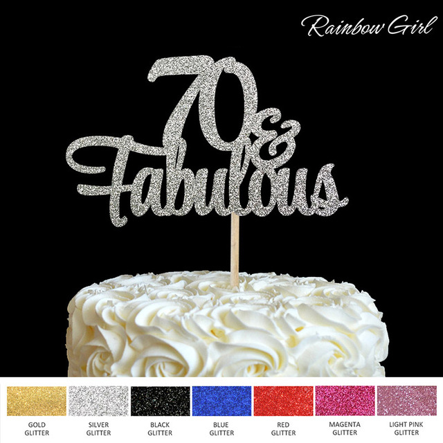 70 Fabulous Cake Topper 70th Birthday Party Decorations Many Color Glitter Accessory Anniversary Decor Supplies