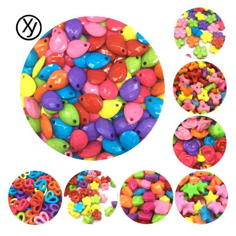DIY New Cheap Colorful Many Style Geometry Shape Acrylic Beads Fit For Bracelet Jewelry Making Wholesale Random Send Goods