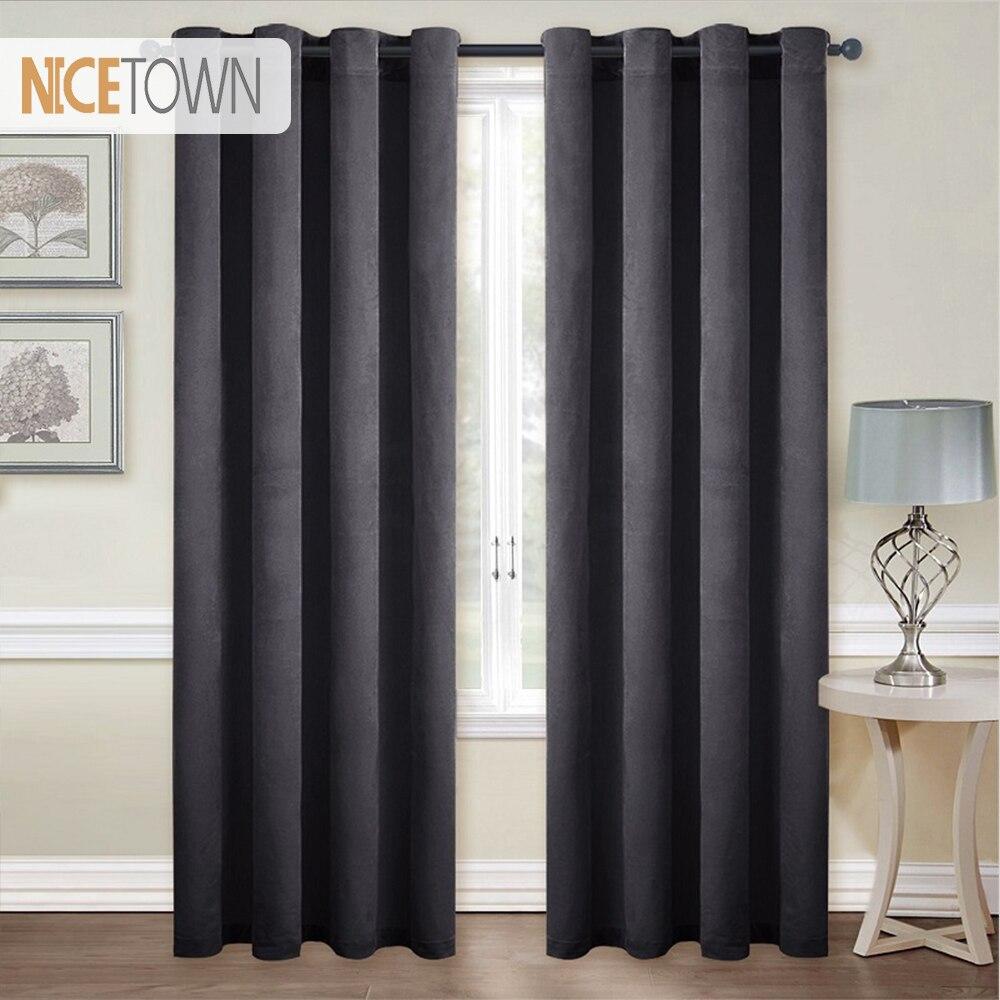 Black Room Darkening Curtains.Us 9 0 10 Off Nicetown European And American Style Grommet Velvet Blackout Room Darkening Curtains Drapes For Living Room Single Panel In Curtains