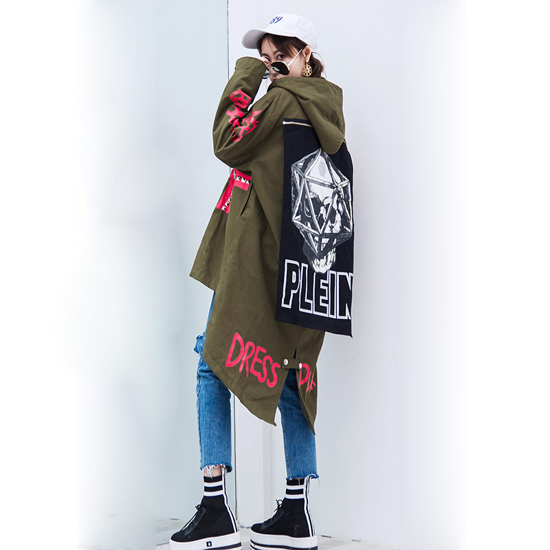 TREND-Setter 2018 Spring and Autumn Army Green   Trench   Coat Women Skull Pattern BF Style Rivet Loose Long   Trench