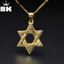 Titanium Silver Magen Star of David Pendant Necklace Hip Hop Gold Color Stainless Steel Religious Charming Pendant Jewelry(China)