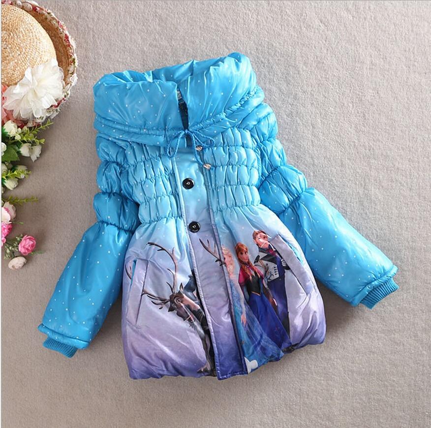 2016 Kış Kız Mont Uzun Kollu Kar Kraliçe Dış Giyim Coat Pamuk Paddad çocuklar için bebek Çocuk Giyim Kıyafetler Ceketler