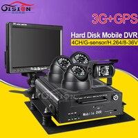 High Quality 4Channel Hard Disk HDD 3G GPS Car Dvr IR Night Vision Car Cameras 7Inch