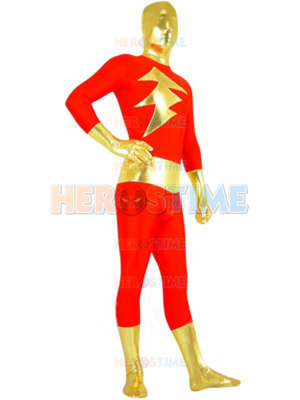 The Flash Red and Gold Superhero Costume Spandex Fullbody Zentai Suit Wholesale