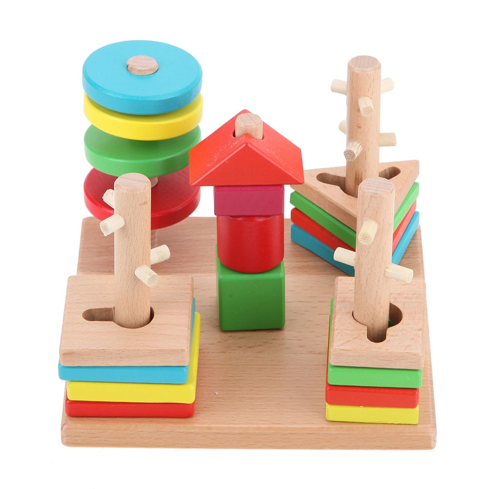 Multi-shape Wooden Pillars Stacking Block Column Geometry Shape Baby Cognitive Toy Educational Round Matching Building Toy wooden building block baby gift geometry cognitive matching toy fun block board game toy wooden educational toy for children