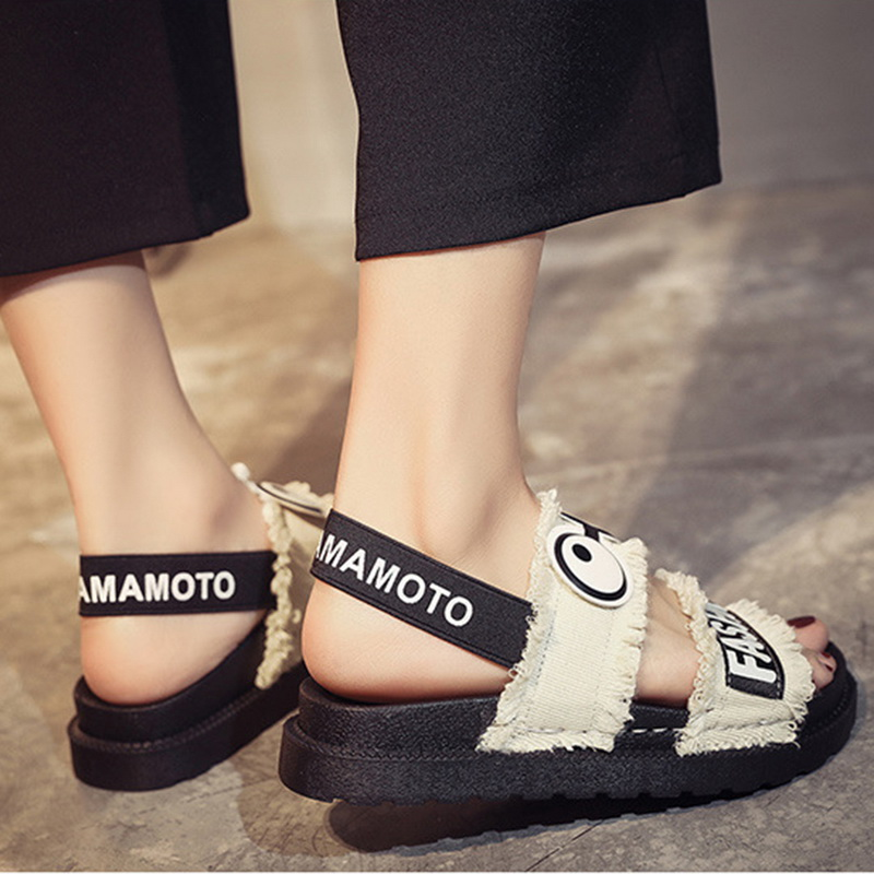 Female Shoes Flat-Sandals Comfort Plus-Size Woman Canvas Summer Wedge Slip-On New Cartoon