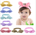 Free Shipping!2016 New Baby Girls Kid Elastic Stretch Dots/Striped/Plaid Rabbit Bow Style Hair Band Headband Turban