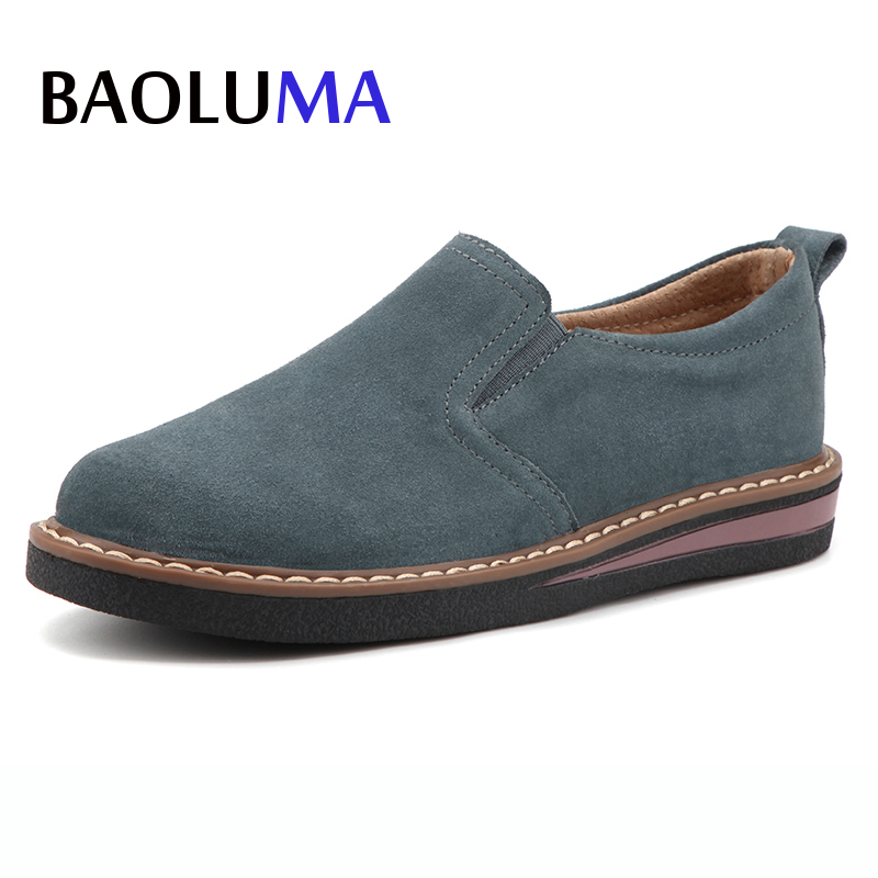 Baoluma Autumn Women Flats Shoes Flat Platform Leather Suede Loafers Casual Shoes Slip On Creepers Lady Shoes Oxford Mujer spring autumn women shoes genuine leather flats loafers flat platform casual fashion round toe slip on mesh transparent flower