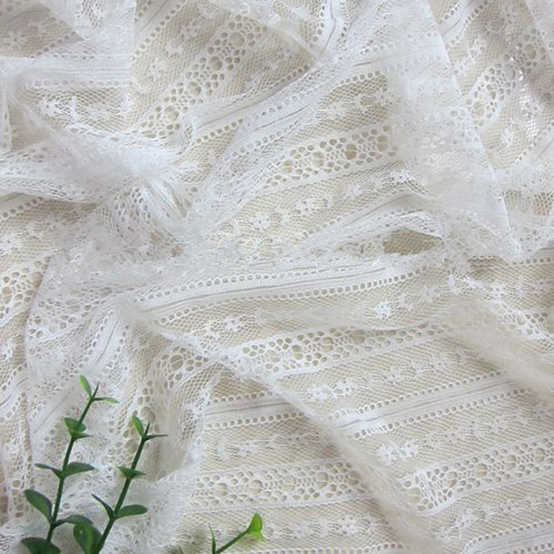 white small fresh curtain stripe lace material nylon soft lace fabric garment cloth wedding stage diy material
