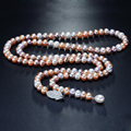 2016 Nueva joyería de perlas de agua dulce naturales collar Largo 100% real genuino 8-9 MM collar de perlas de 90 CM Para Las Mujeres Mejor regalos
