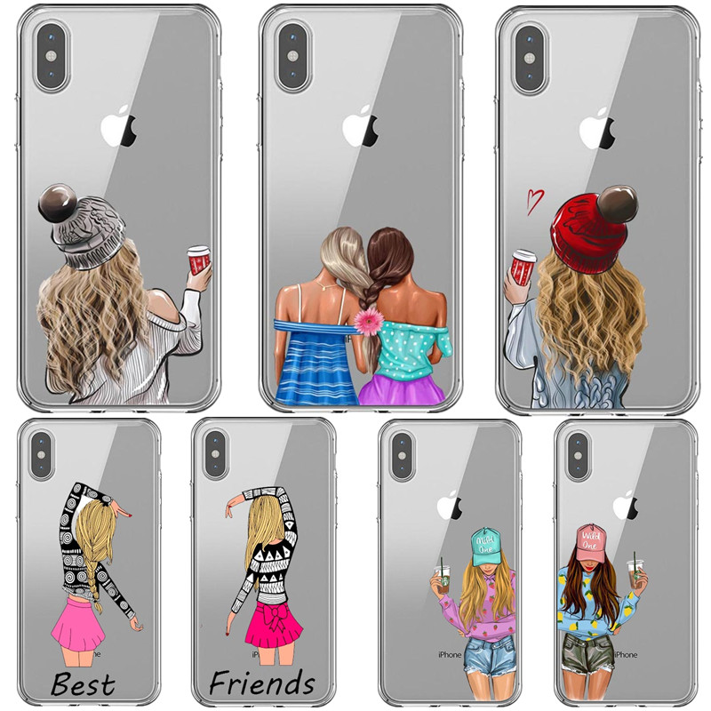 Girls <font><b>Bff</b></font> Best Friends Forever Silicone clear Phone <font><b>Case</b></font> For <font><b>iPhone</b></font> X 5s <font><b>SE</b></font> 6 6s 7 8 Plus Xs XR MAX 11 Pro Max 2019 Back Cover image