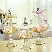 European candy jars transparent Glass bottles lid storage dust-proof cake stand dessert tea caddy wedding vase Decor supplies
