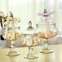 European candy jars transparent Glass bottles lid storage dust proof cake stand dessert tea caddy wedding vase Decor supplies