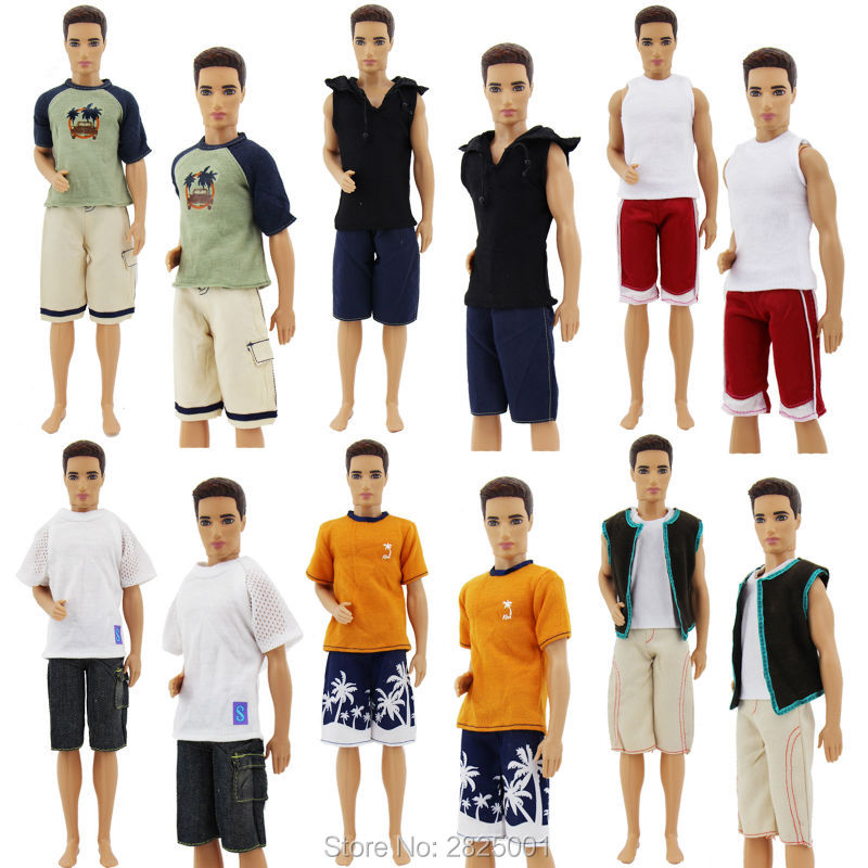 3 Sets Men Outfits Shirt Shorts Summer Clothing Casual Doll Clothes For Barbie Friend Ken 1:6 Puppet Accessories Dollhouse Toy