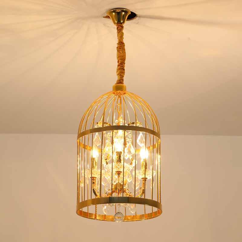 35/45cm Black/Gold Nordic Birdcage Pendant Lamparas American Vintage Industrial Bird Cage Pendant Light With Crystal Ornaments