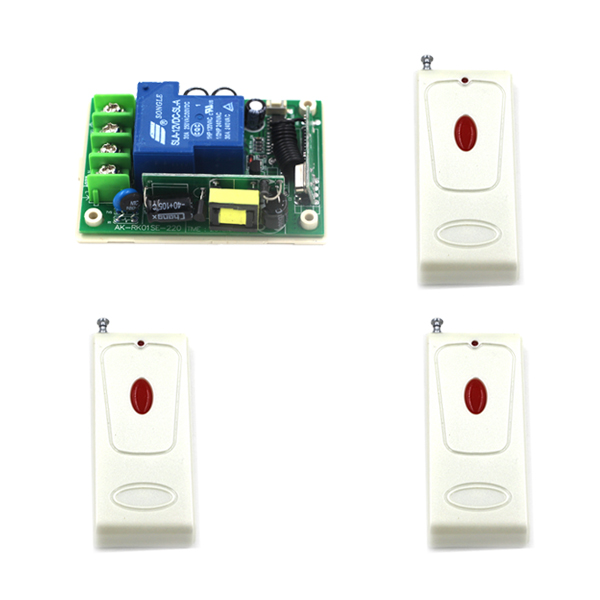 Wireless remote switch AC 85V~250V, light control 1CH RF Switch System,315/433 MHZ 3 Transmitter And 1 Receiver 4322 wireless pager system 433 92mhz wireless restaurant table buzzer with monitor and watch receiver 3 display 42 call button