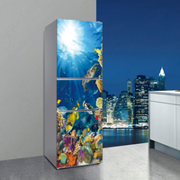 60x150cm/60x180cm Underwater world Pattern Fridge Sticker PVC Refrigerator Door Kitchen Self adhesive Wall Stickers Decor