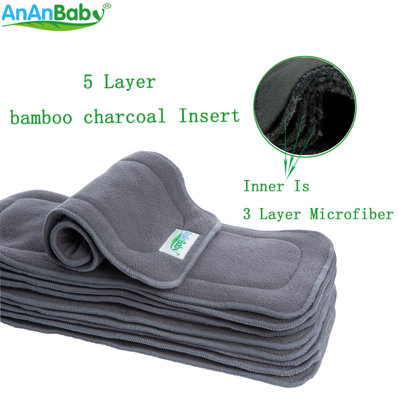 Reusable 5 Layer Bamboo Charcoal Diaper Insert Super-absorbency Nappy Changing Mats Liners Fit Diapers