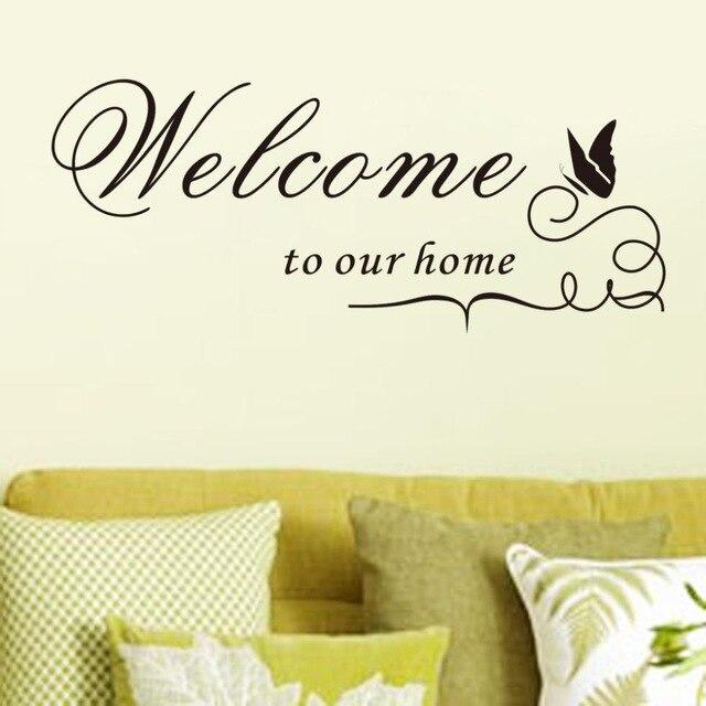 % Добро пожаловать в наш дом Цитата стены наклейки декоративные Adesivo де Parede Съемный Бабочка Животных Виниловые наклейки стены обои