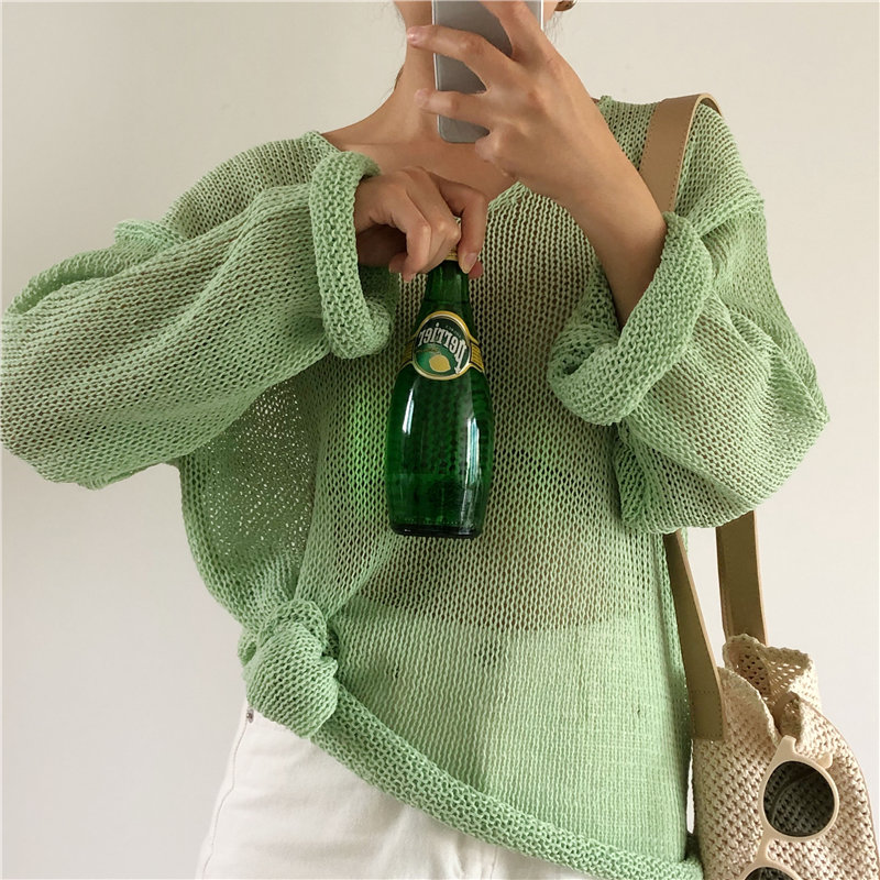 HziriP Lazy Style Thin Retro Solid Pullovers Gentle 2019 Autumn Simple Knitted Loose Women New Sunscreen Light Chic Sweater