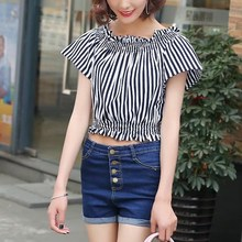 2017 Sexy Women Blusas Elastic Off Shoulder Stripe Fashion Tees Crop Top Summer Casual Holiday Beach Lady Blusas