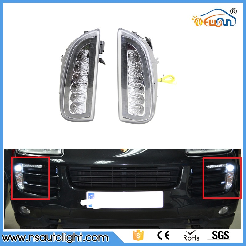 Car Styling Daytime Running Lights for Cayenne LED DRL 2006 2007 2008 2009 2010 LED Fog Light Front Lamp Automobile Accessories leadtops car led lens fog light eye refit fish fog lamp hawk eagle eye daytime running lights 12v automobile for audi ae