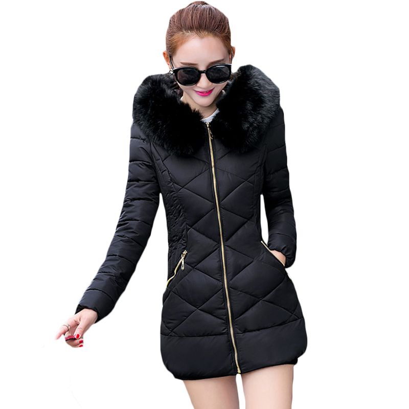 Fake Fur Hooded Collar   Parka   Cotton Jacket 2019 Winter Jacket Women Thick Snow Wear Coat Medium Length Female Lined   Parkas   XH406