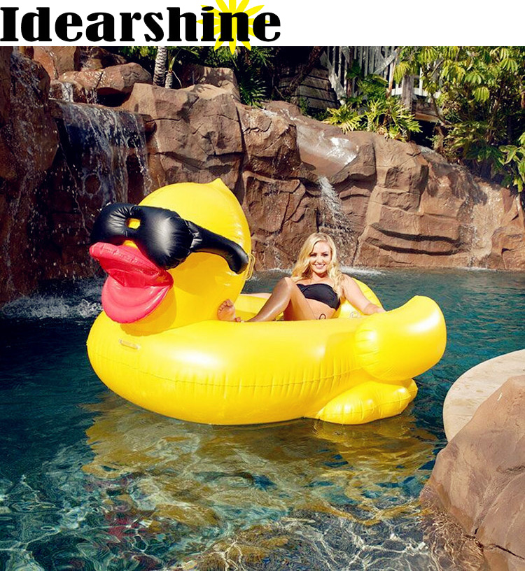 190*155*95 Giant duck Inflatable Ride-On Pool Toy Float inflatable big duck pool Swim Ring Holiday Water Fun Pool Toys withpump neck ring no need pump air more safety non inflatable swim ring free inflatable baby neck swimming ring 3 36months bath toy gift