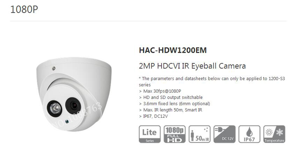Free Shipping DAHUA CCTV Security Camera 2MP 1080P HDCVI IR Eyeball Camera IP67 Smart IR Without Logo HAC-HDW1200EM free shipping dahua cctv security camera 2mp hdcvi ir eyeball camera ip67 without logo hac hdw1220r vf