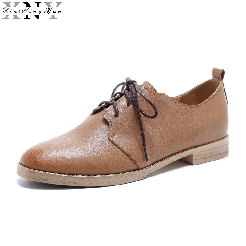 XIUNINGYAN Genuine Leather Flats Oxford Shoes Women Vintage Brogue Shoes Brand 2017 Fashion British Style Women's Flat Plus Size xiuningyan vintage british style oxford shoes for women genuine leather flat shoes women us size13 handmade black leather shoes