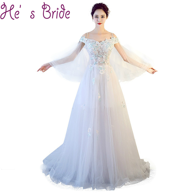 17cb723693 Evening Dress Elegant White Boat Neck Long Sleeves Lace Up Back A Line Court  Train Tulle Lace Flowers Sweet Party Prom Dress