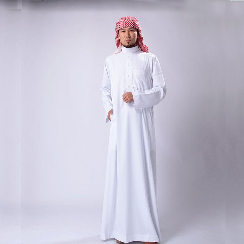 Saudi Arabia Traditional Costumes Man Muslim Jubba Thobe Solid White Stand Collar Polyester Long Robe Gown Islamic Clothing
