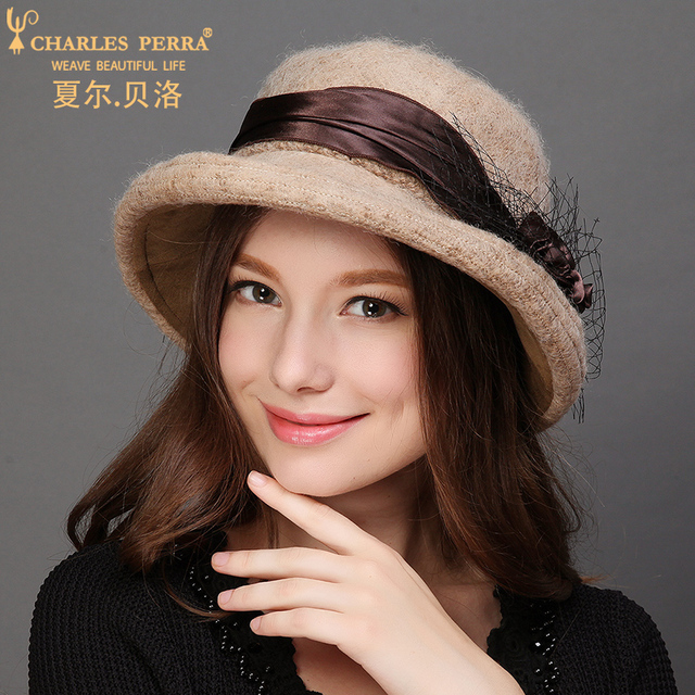 Charles Perra Women Winter Hat Warm Wool Cap New Fashion Elegant Lady Bucket  Hats Solid Color 23eff23b0058