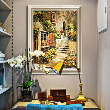 Hand-painted Mediterranean Sea view room painted the sitting room decorates a wall painting on the canvas art wallpaper image 31 фото